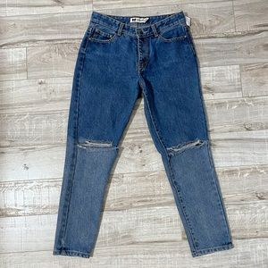Topshop Petite Distressed High Waisted Slim Jeans